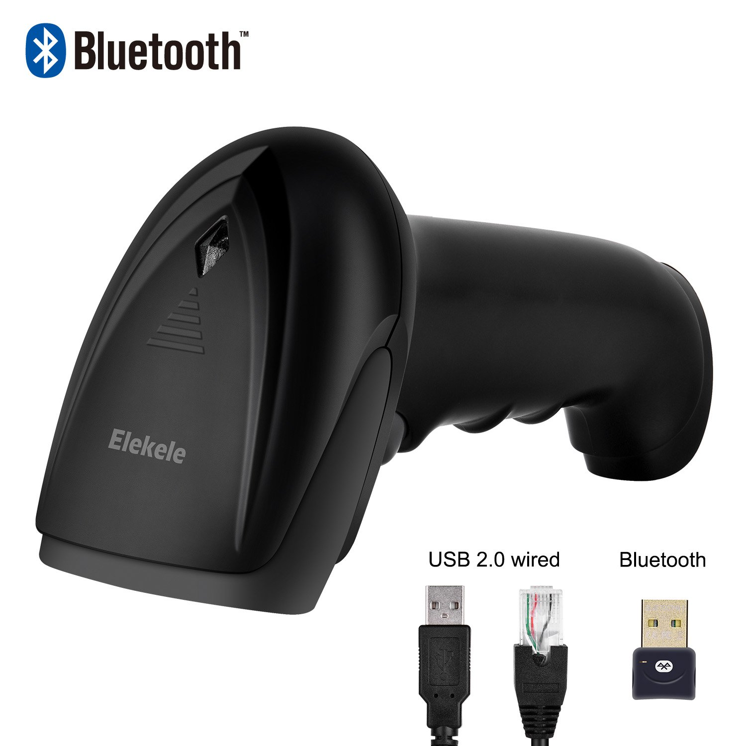 USB 2.0 Wired + Wireles Bluetooth Barcode Scanner, Elekle 1D Handheld Inventory Bar Code Reader with Automatic Continuous Scan for Computer ipad iphone Android (Bluetooth)