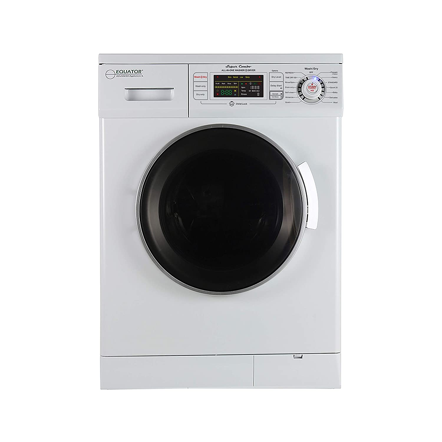 Equator 24 inch Compact New Version All-in-One Combo Washer-Dryer, Vented or Ventless, 1200 RPM, Auto Water, Auto Dry, Winterize, Quiet, Fully Digital in White 2019 Model