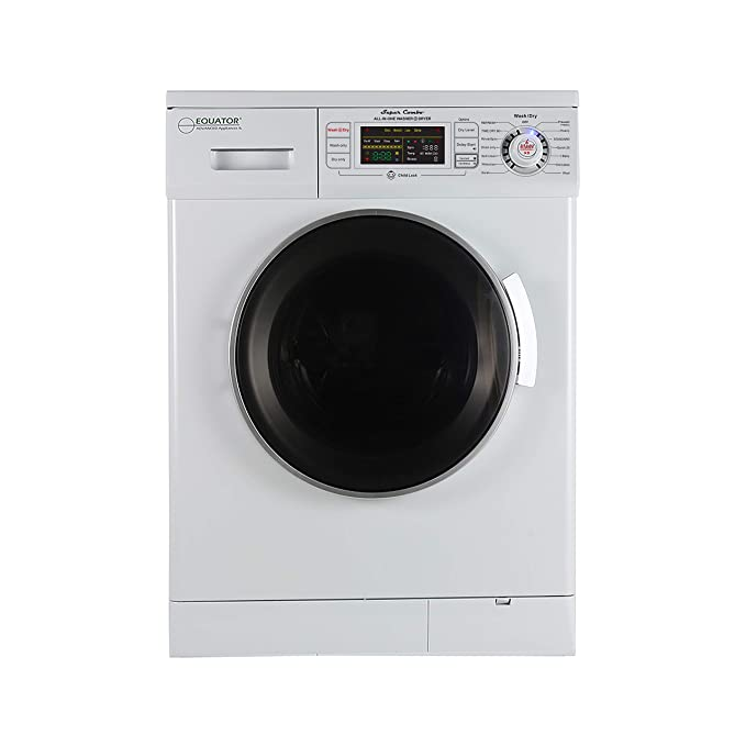 Equator 24 inch Compact New Version All-in-One Combo Washer-Dryer, Vented or Ventless, 1200 RPM, Auto Water, Auto Dry, Winterize, Quiet, Fully Digital in White 2019 Model Best All-in-One Washer Dryer Combo Machines