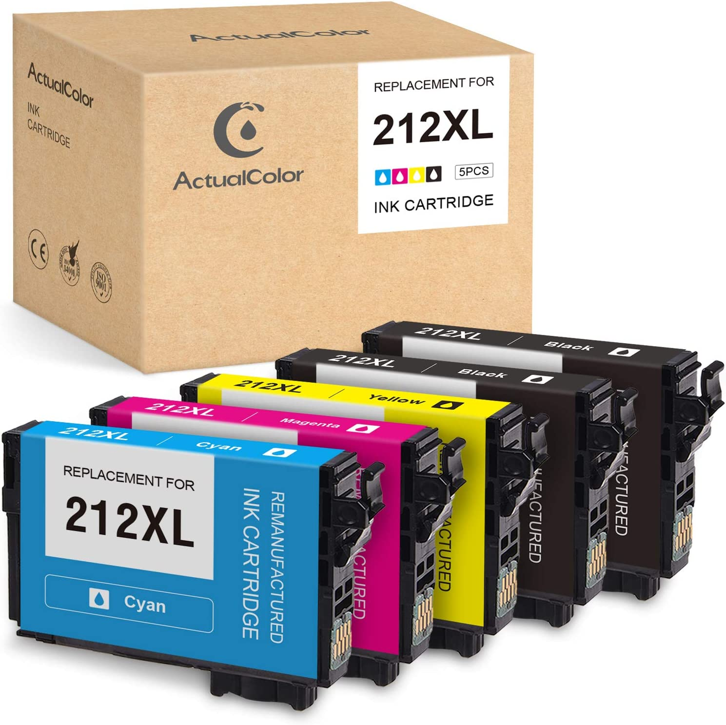 ActualColor C Remanufactured Ink Cartridge Replacement for Epson 212XL T212XL 212 XL for Expression Home XP-4100 XP-4105 Workforce WF-2850 WF-2830 (2 Black, 1 Cyan, 1 Magenta, 1 Yellow, 5-Pack)