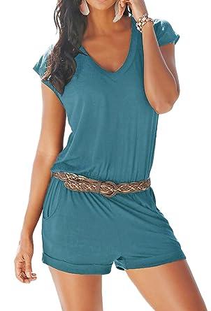 Aitos Jumpsuits Damen Kurz Sommer Strand Spielanzug Einteiler Overalls Hose Elegant Playsuit V-Ausschnitt Elastisch Hohe Tail