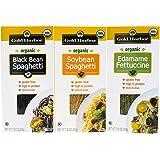 Gold Harbor Organic Bean Pasta (Variety 6 Pack) - Organic Black Bean Spaghetti, Organic Edamame Fettuccine and Organic Soybean Spaghetti