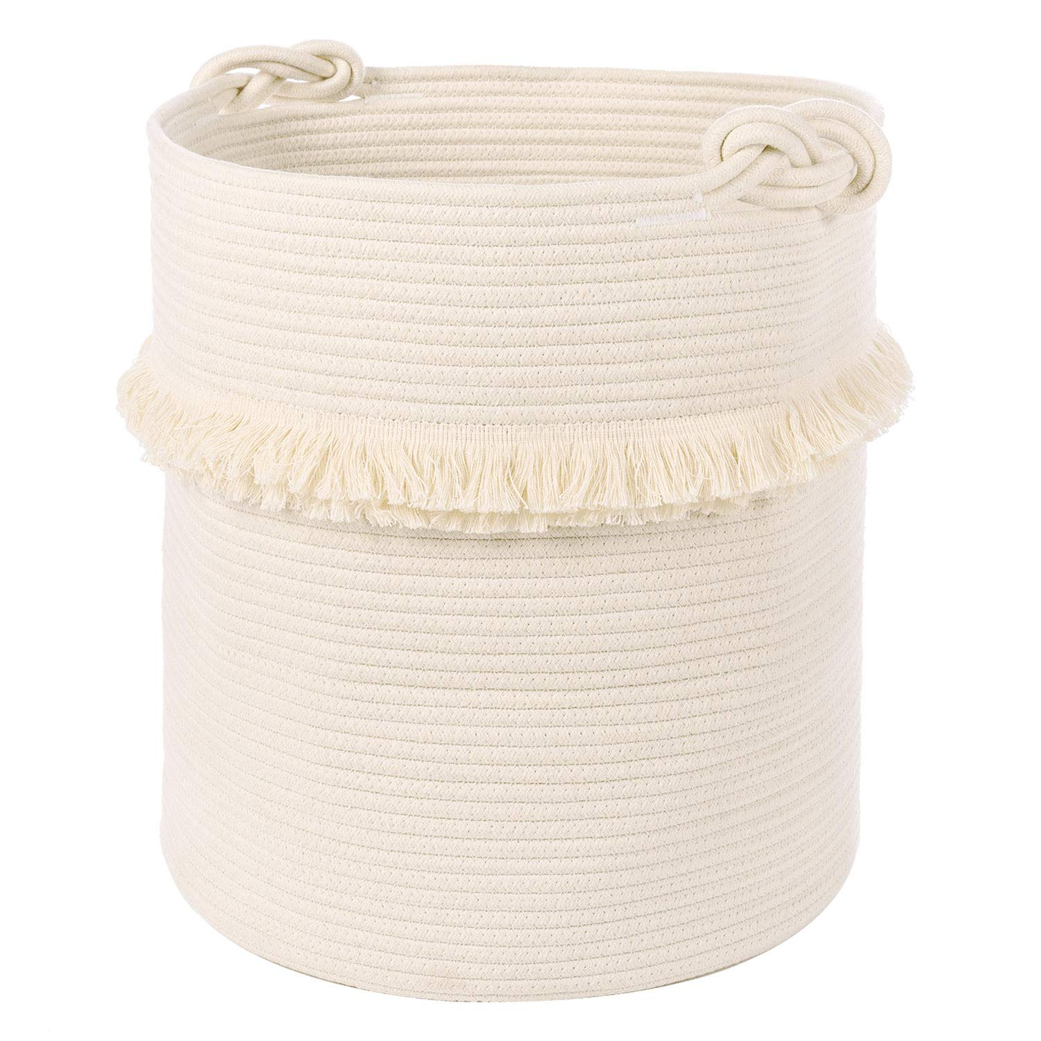 Extra Large Woven Storage Baskets - 17'' x 16'' Cotton Rope Decorative Hamper for Magazine, Toys, Blankets, and Laundry, Cute Tassel Nursery Decor - Home Storage Container by CherryNow