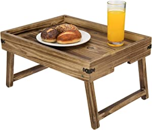 MyGift Rustic Dark Brown Wood Breakfast Serving Tray with Foldable Legs & Decorative Metal Brackets