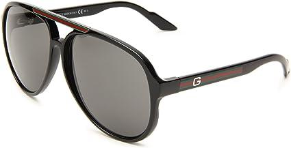 exquisite design innovative design better Gucci Men's 1627/S Aviator Sunglasses, Shiny Black Frame/Grey Lens, One Size
