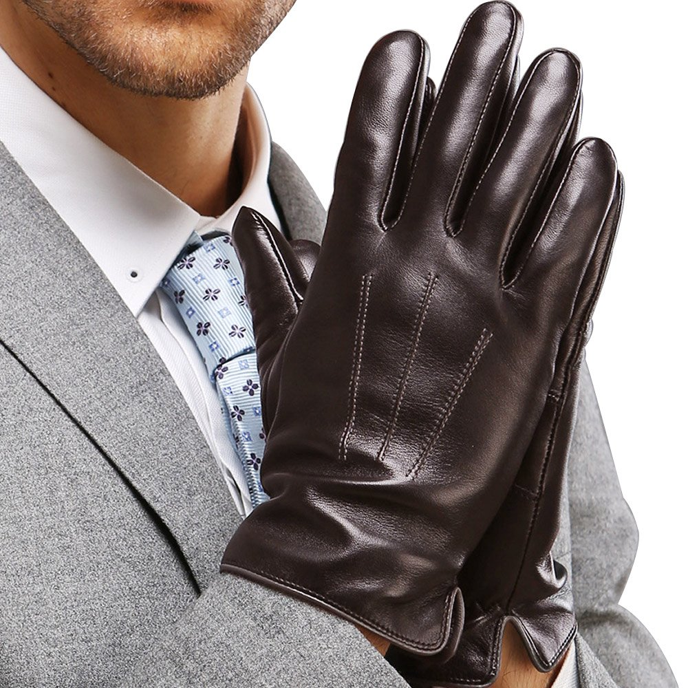 Mens Touchscreen Texting Genuine Nappa Leather Gloves Winter Driving Warm Lined Gloves, Brown, US XL-9.4''