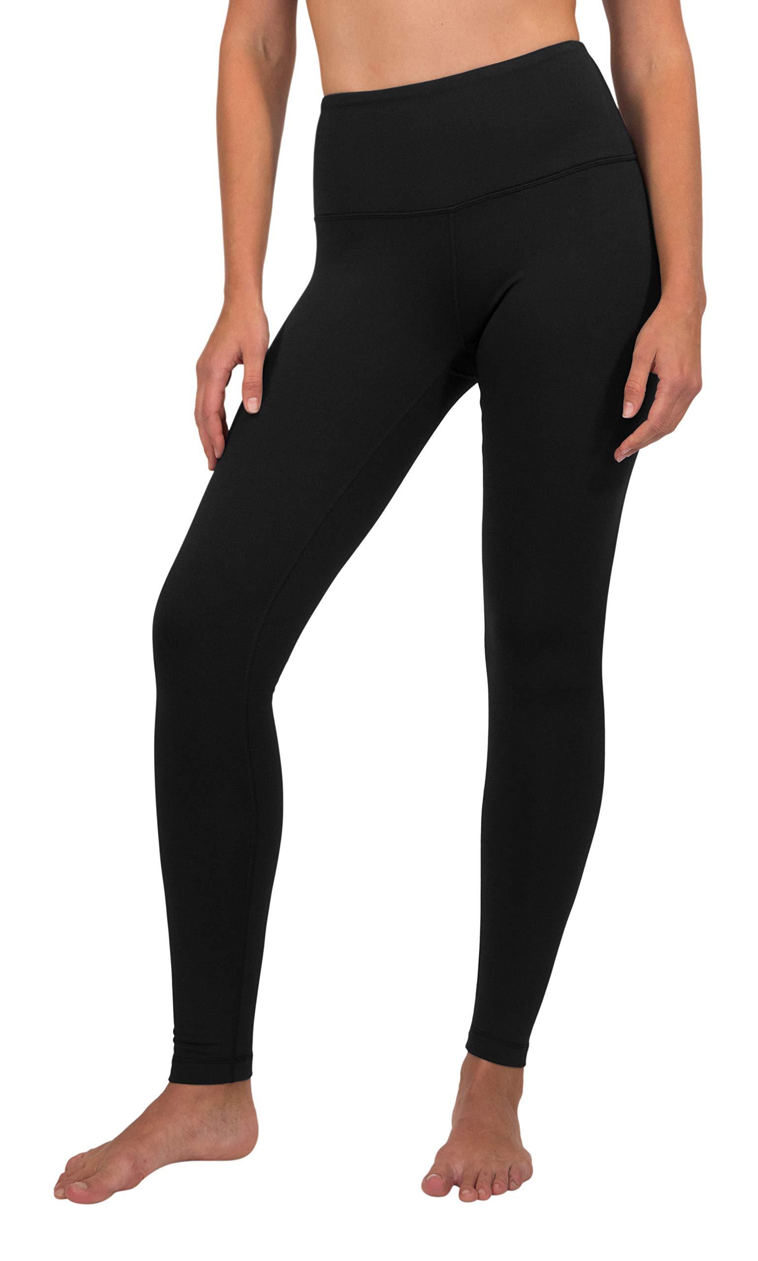 90 Degree By Reflex High Waist Fleece Lined Leggings - Yoga Pants - Black - Large