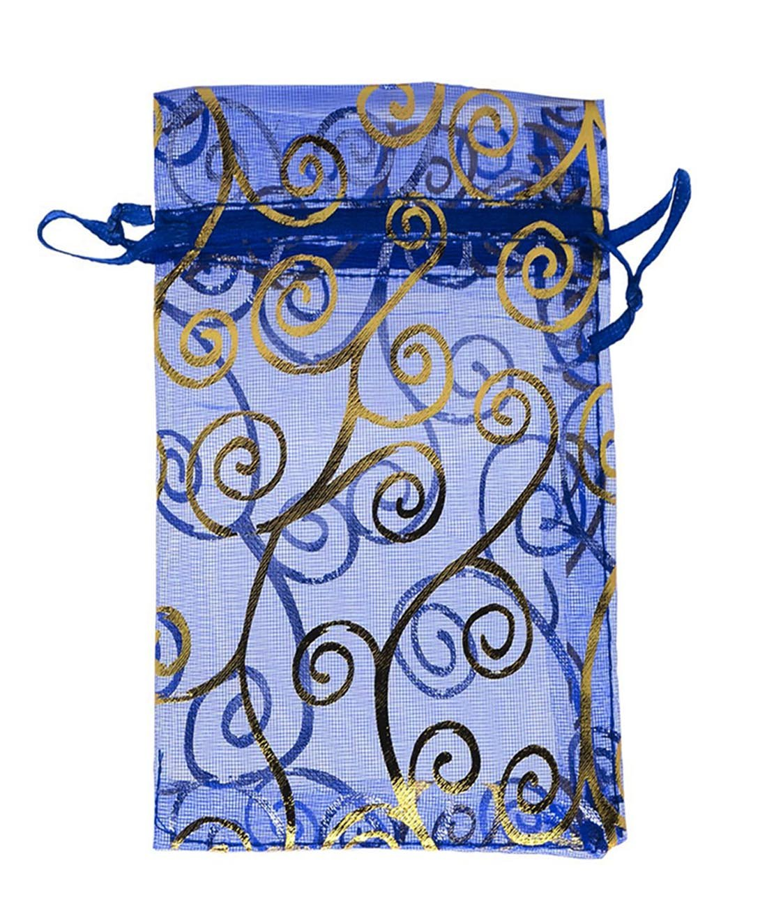 SUNGULF 100pcs Organza Pouch Bag Drawstring 4x6'' 10x15cm Strong Gift Candy Bag Jewelry Party Wedding Favor (Blue Gold)