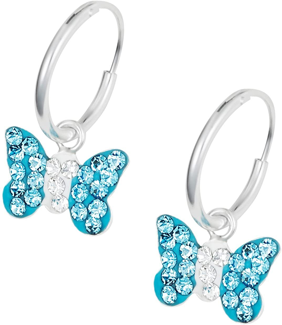 Hypoallergenic Sterling Silver Aqua Crystal Butterfly Hoop Earrings for Kids (Nickel Free) Penny & Piper PP-MN0276