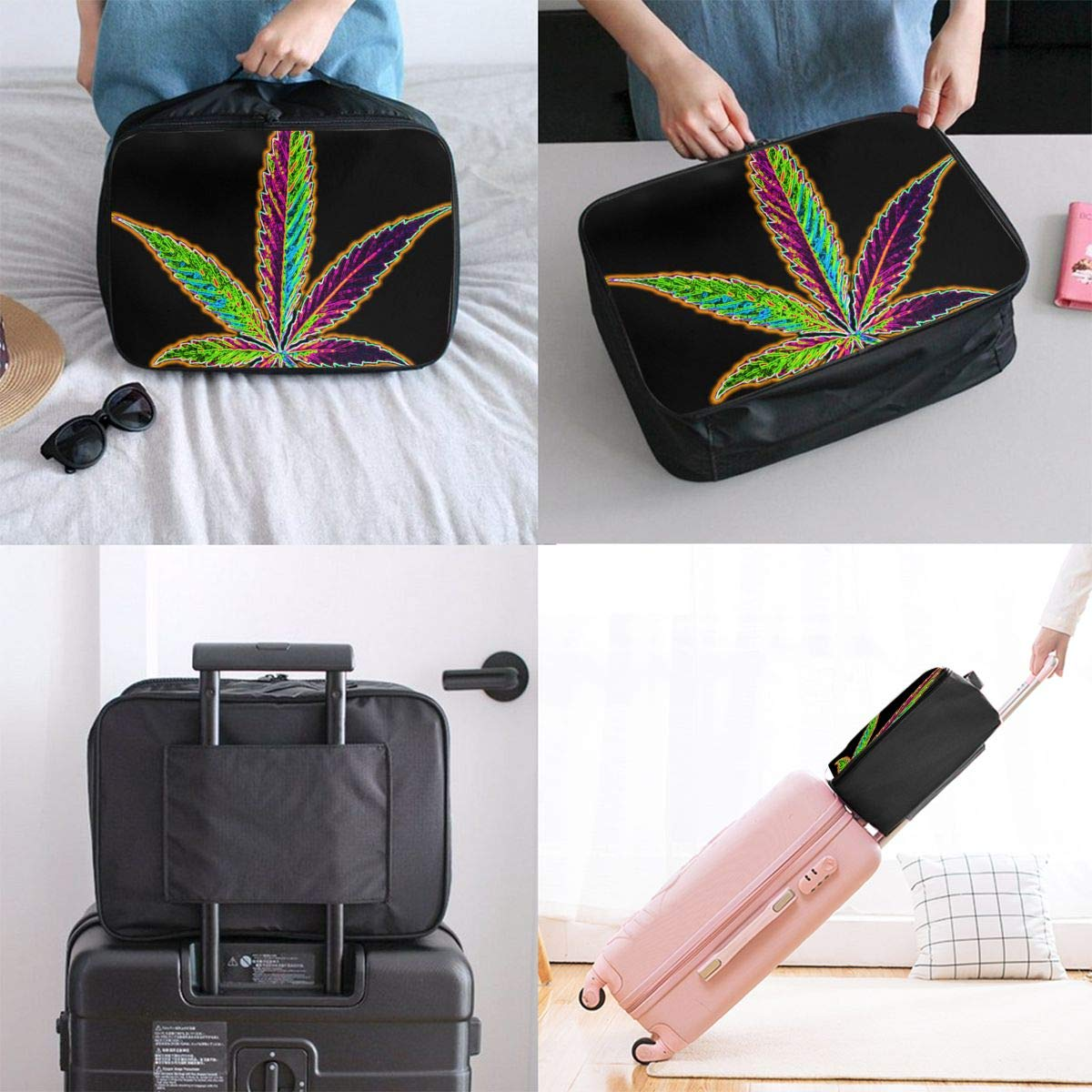 YueLJB Cannabis Marijjuana Leaf Bright Lightweight Large Capacity Portable Luggage Bag Travel Duffel Bag Storage Carry Luggage Duffle Tote Bag