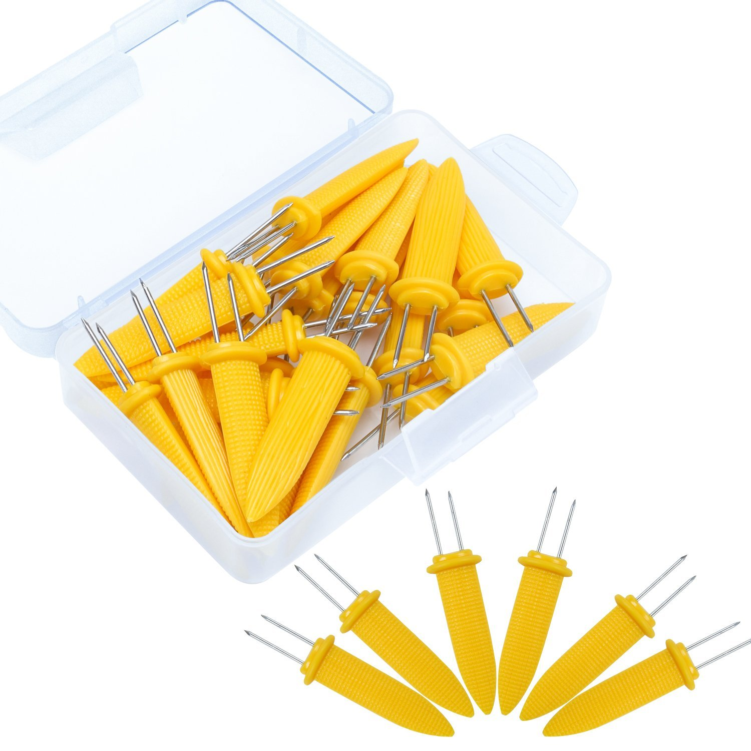 Elcoho 25 Pack 3.35 Inch Large Corn Holders Stainless Steel Corn on the Cob Skewers Holders with Storage Box