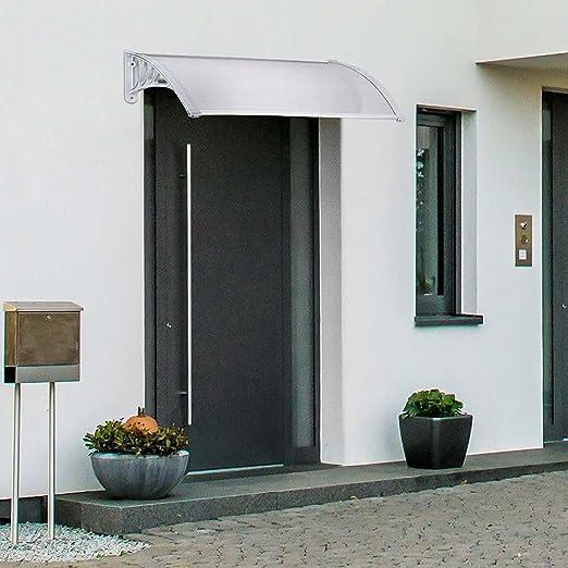 Bakaji porche de policarbonato transparente para puertas y ventanas tettoia Modular de exterior jardín terraza balcón color blanco: Amazon.es: Bricolaje y herramientas