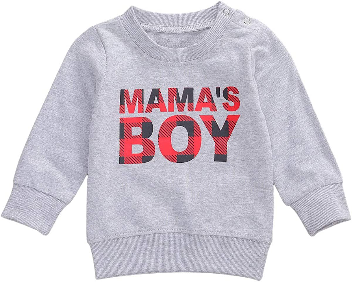 Ambabe Newborn Baby Boy Girl Long Sleeve Sweatshirt Letter Print Pullover Top Blouse Fall Winer Clothes Matching Outfits