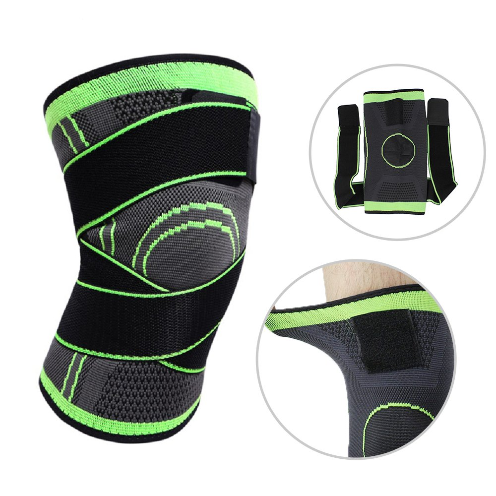 Knee Brace,Conlink Compression Support Knee Sleeve with Adjustable Strap Knee Pad for Pain Relief, Meniscus Tear, Arthritis, ACL, MCL,Suit for Running, Cycling, Tennis, Golf and Basketball L by Conlink