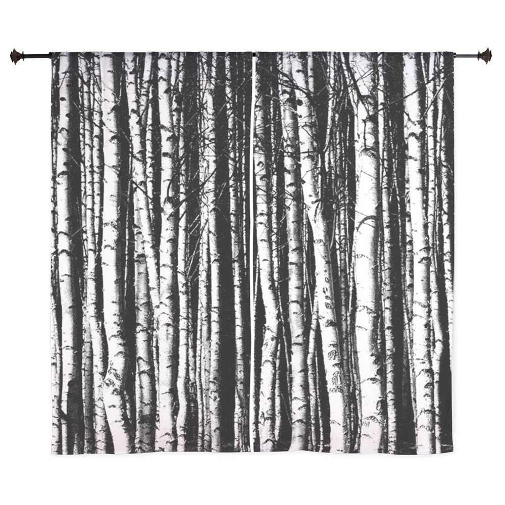 Birch tree shower curtains - Amazon Com Cafepress Black And White Birch Trees Curtains 60 Decorative Window Curtains Sheer Drapery Window Treatment Home Kitchen