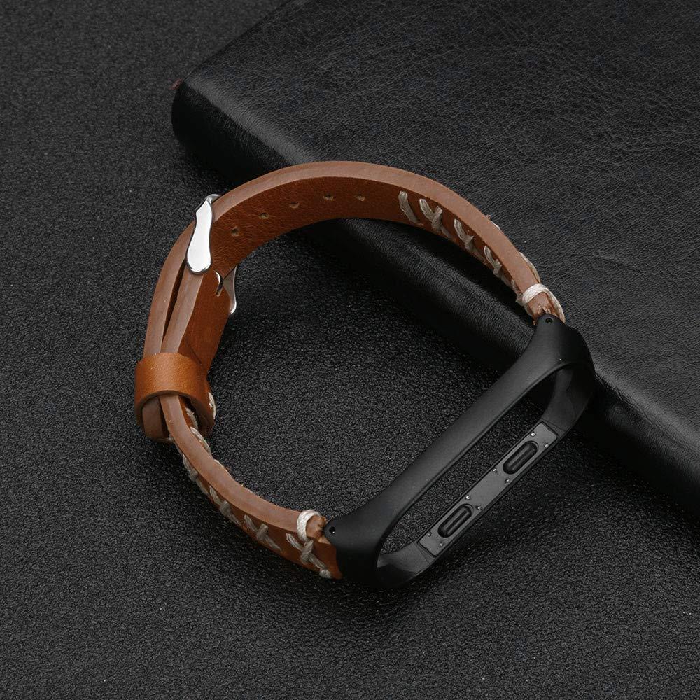 Caja de Metal Absolute Correa de Pulsera de Cuero de reemplazo ❀para Xiaomi Mi Band 3