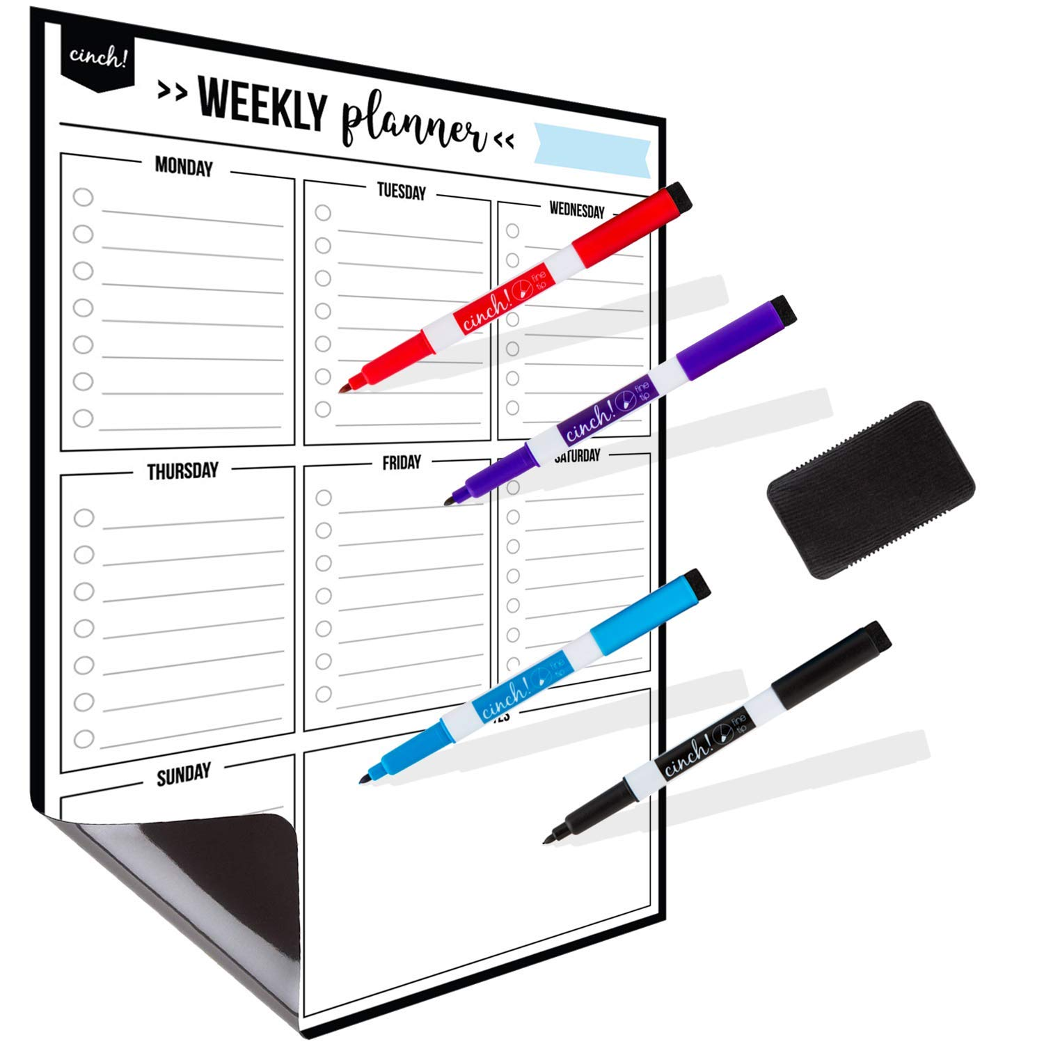 Magnetic Dry Erase Weekly Calendar for Fridge: with Stain Resistant Technology - 17x12'' - 4 Fine Tip Markers and Large Eraser with Magnets - Whiteboard Organizer Planner: Refrigerator White Board by cinch!