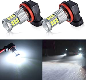 KISLED Super Bright 3000lm H8 H11 LED Fog Lights Bulbs DRL High Power 3030 Chips with Projector Lens Replacement for Cars Trucks, 6000K Xenon White