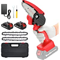 Mini Chainsaw Cordless With 2Pack Battery , Seesii 4 inch Electric Power Chain Saw with 2x Replacement Chain, One-Hand…