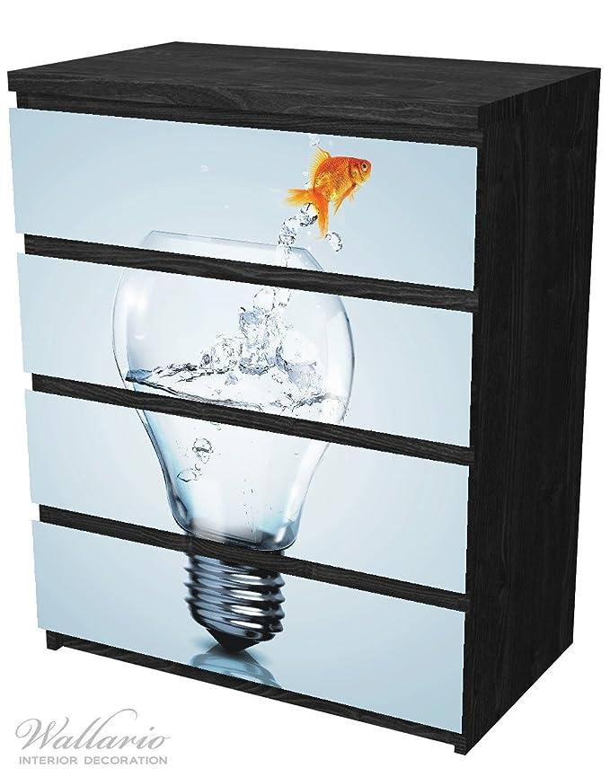 Wall Ario Muebles Protector adhesivo, adecuado para cómoda de Ikea Malm - Pez saltando Acuario con 4 cajones: Amazon.es: Hogar