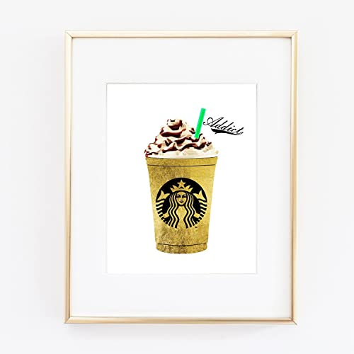 Amazon.com: Starbucks Gold Foil Coffee Print Wall Art Home Office ...