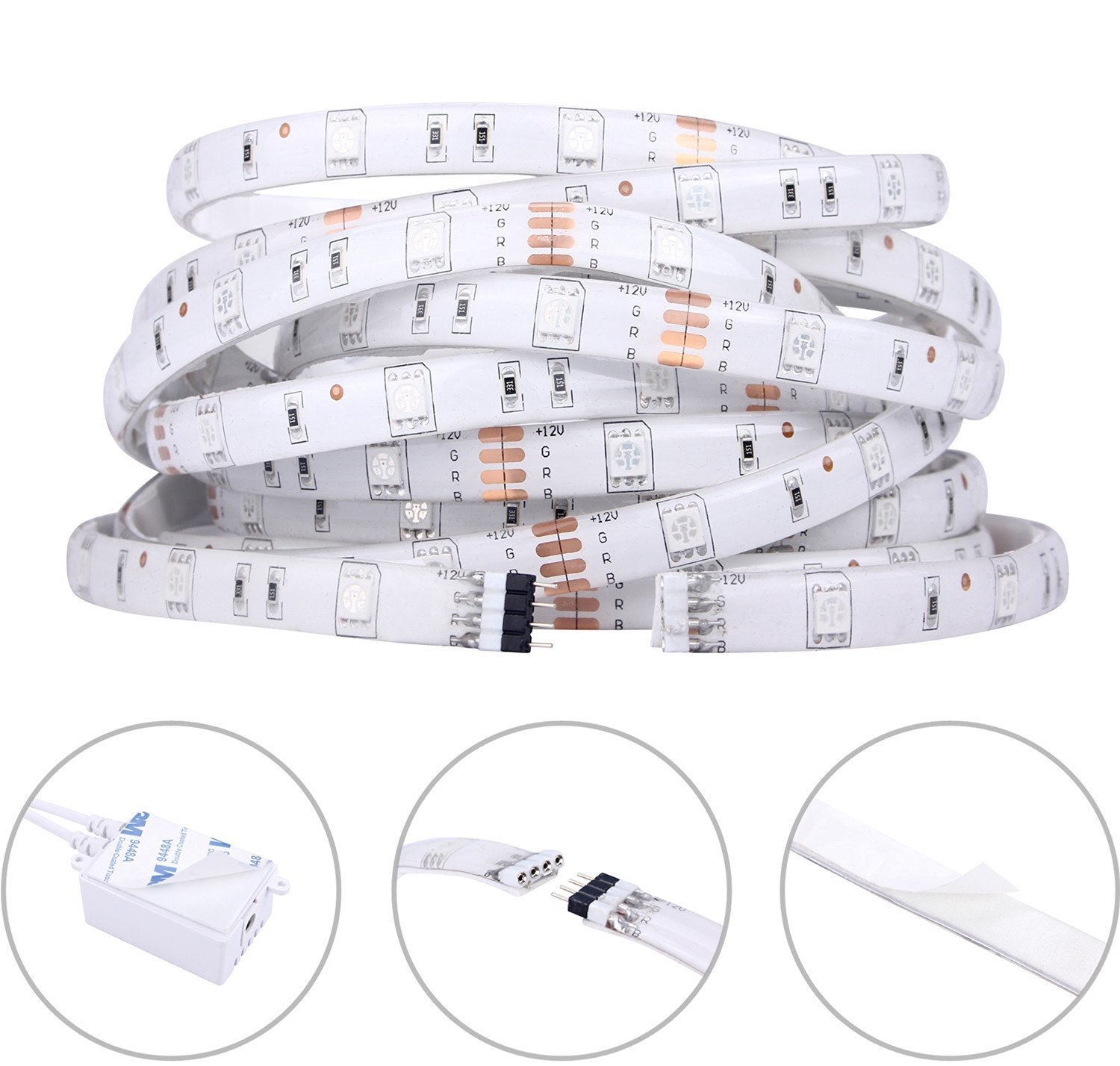 Tingkam Waterproof 5m 5050 Smd Rgb Led Strips Lighting Connectors Wiring For Single Color Strip Light Ebay Kit With 44 Key Ir Remote Controller Garden Outdoor