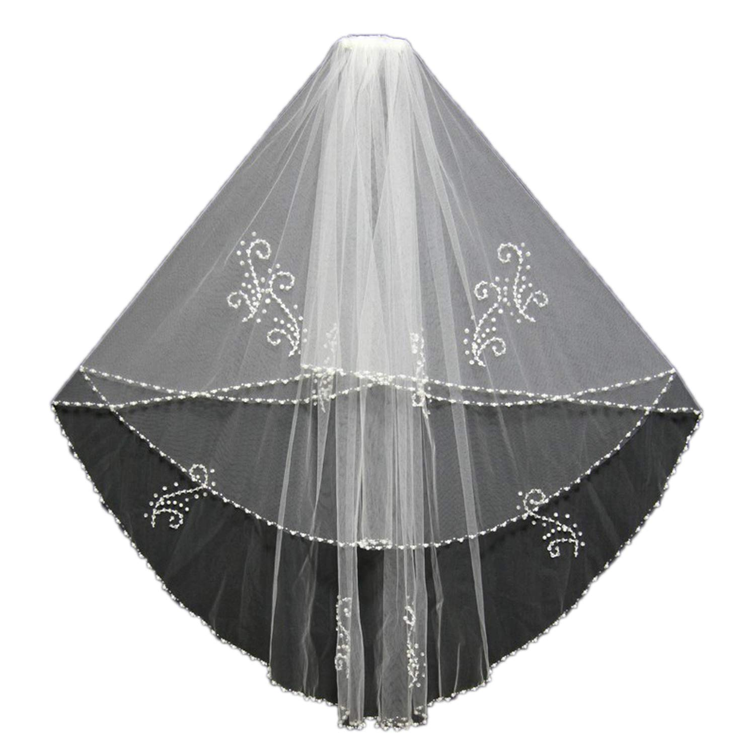 Two Layers Bridal Veils Beaded Pearls Beading Edge Wedding Veils Long About 75cm Wedding Bridal Accessories