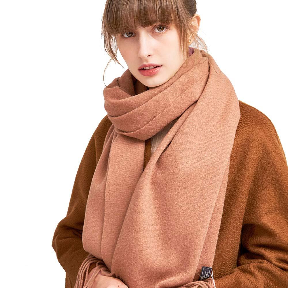Light orange QAR Autumn and Winter Solid color Wool Scarf Korean Students Winter Wild Small Shawl Dualuse Ladies Thick Bib Scarf (color   Light orange)