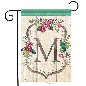 Aric Garden Flag - Classic Floral Monogram M