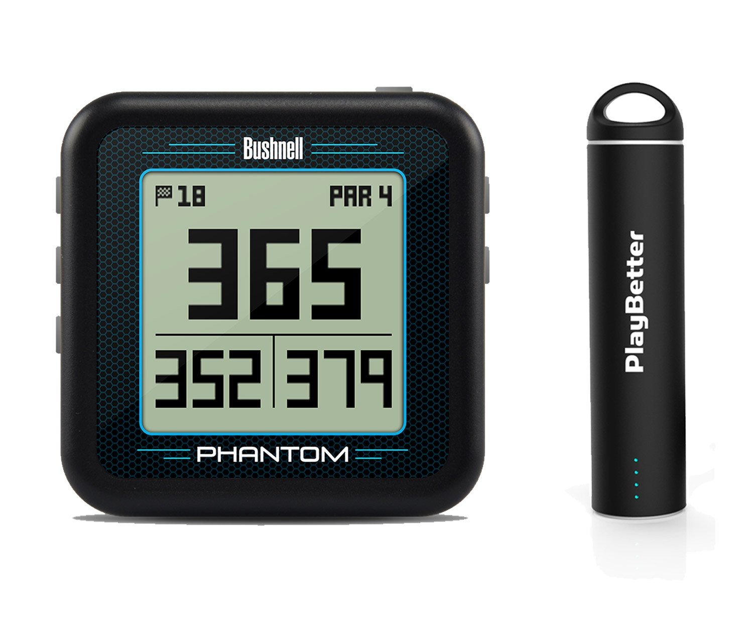 Bushnell Phantom (Black) Power Bundle with PlayBetter Portable USB Charger (2200mAh) | Handheld Golf GPS, Built-in Golf Cart Magnet, 35,000+ Pre-Loaded Courses, Compact & Lightweight by PlayBetter