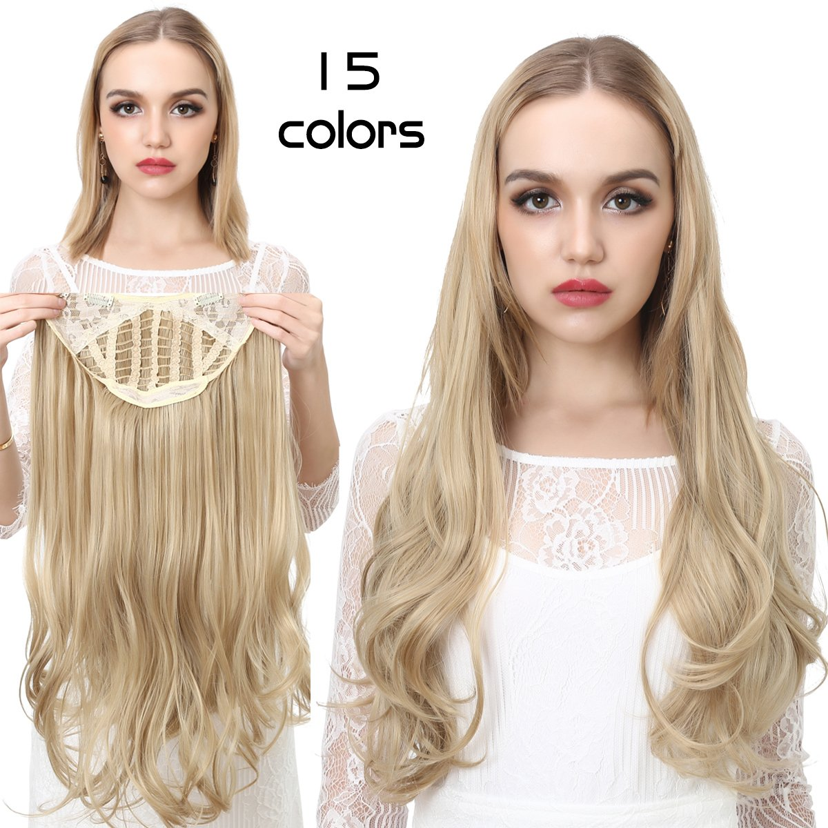Blonde Clip in Hair Extensions Curly Curl Wave Full Head Long 24'' 0.37lb 170g One Piece U part Synthetic Hairpiece For Women Natural Real Hair Piece Japan High Temperature Fiber(UH17#16H613)