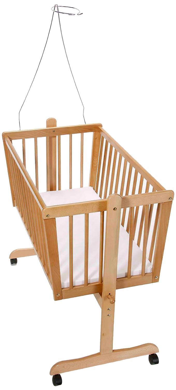 Easy Baby 180-11 Wiege natur mit Rollen inklusiv Matratze und Himmelhalter