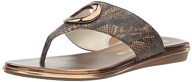 Anne Klein Women's Gia Reptile Flip-Flop, Light Bronze, 10 M US