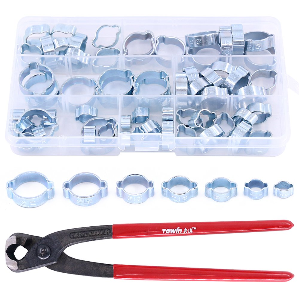 Glarks 70Pcs Zinc Plated Double Ear Hose Fuel Clamp with Standard Jaw Pincers Kit