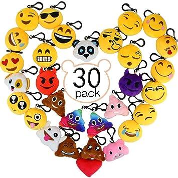 Aiduy Mini Emoji Llavero Emoji encantadora almohada almohadillas Emoticon Llavero Soft Party Bag regalo de relleno de juguete para los niños (30pcs)