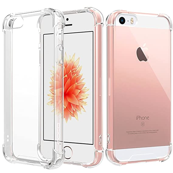 newest 26419 d9bad for iPhone SE Case/iPhone 5 Case/iPhone 5S Case, MoKo Crystal Clear  Reinforced Corners TPU Bumper Cushion + Anti-Scratch Transparent Back Panel  Cover ...