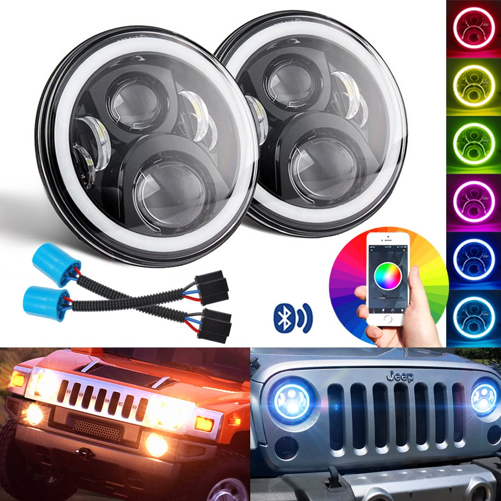 "Belt&Road 7 inch LED Headlights RGB Halo Ring Angel Eyes 7"" Round  Multicolor DRL Bluetooth Remote Control for Jeep Wrangler JK LJ CJ 1997~2018  Hummer H1 H2 ..."