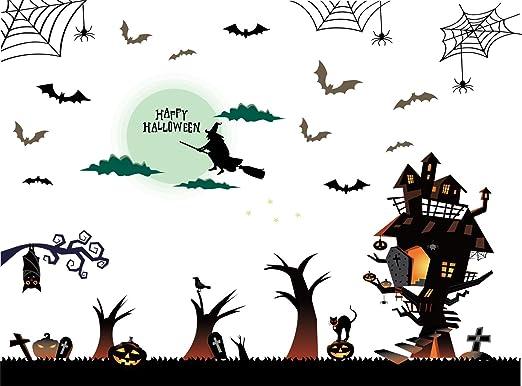 Halloween Witch Bat Wall Art Decals Stickers Window Party Home Decor Sticker New