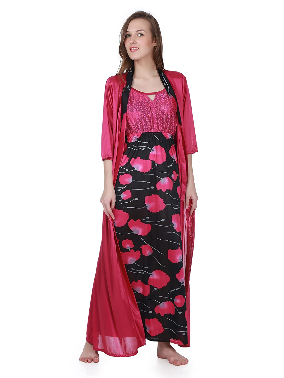 5edcc8238f Claura 3 pc stylish combo of Printed Long Nighty with robe and shorts nighty(cl-20-pi+cl-29-wine)   Amazon.in  Clothing   Accessories