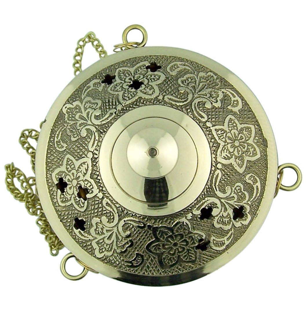 Charcoal Incense Burner Gold Tone over Brass Hanging Censer with Chain by Religious Gifts (Image #3)