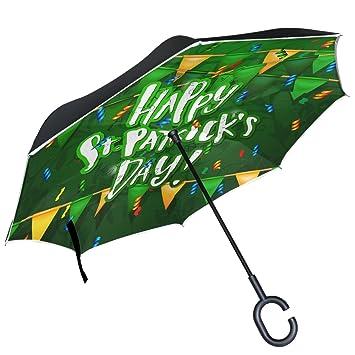 ALAZA Festive bandera confeti Clover paraguas invertido doble capa resistente al viento Reverse paraguas