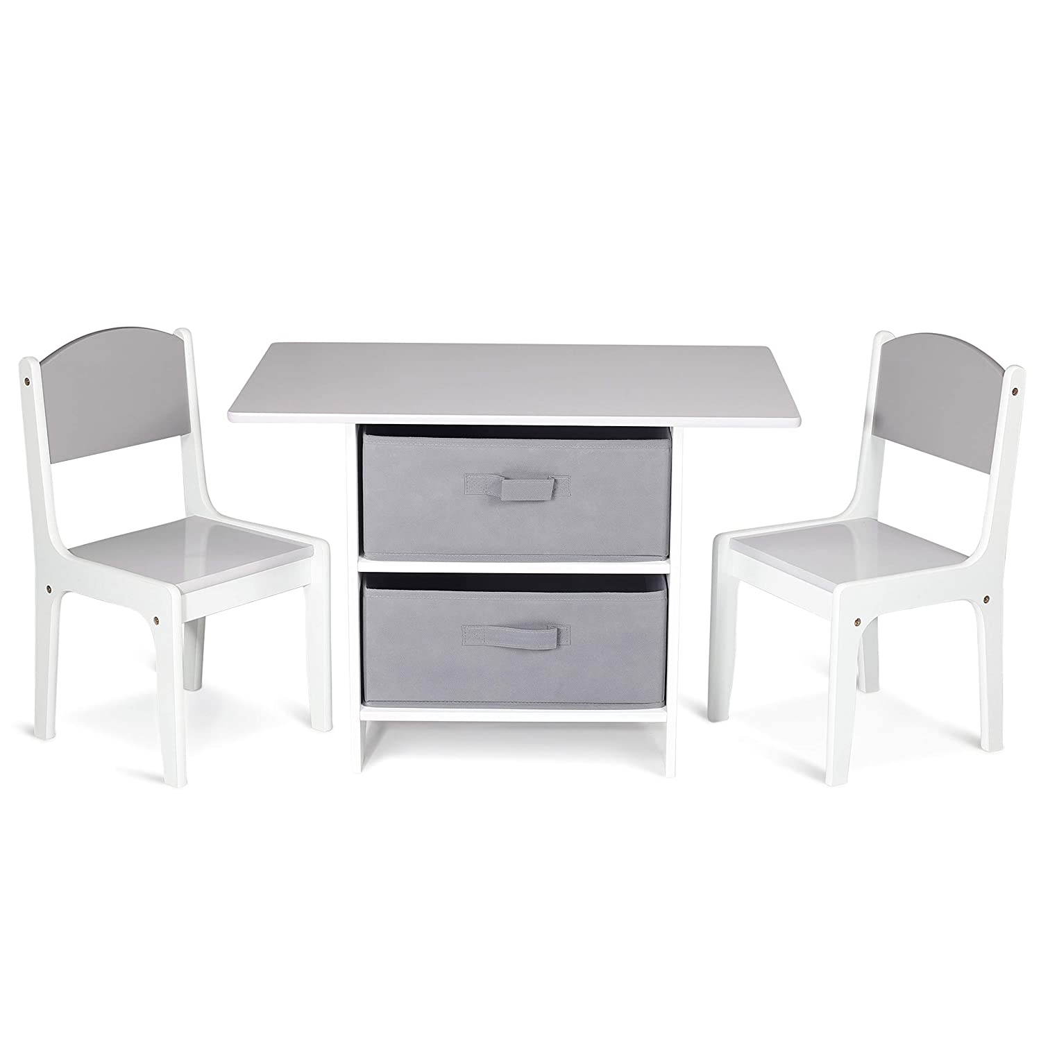 Milliard Kids Table and Chair Set Wood with Storage Shelves, Activity Playset Furniture with Modern Gray Colors
