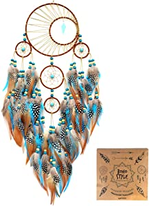 """Littlear Dream Catcher Handmade Turquoise Dream Catchers with Feathers Wall Hanging Home Decor Dia 6""""(NO.34)"""