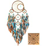"""Urdeoms Dream Catcher Handmade Turquoise Dream Catchers with Feathers Large Wall Hanging Home Decor Dia 6""""(NO.34)"""