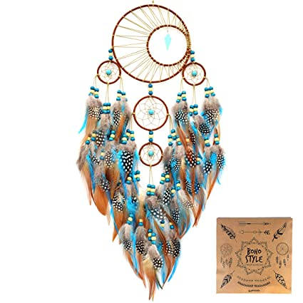 a3f6560f0150e Amazon.com: Littlear Dream Catcher Handmade Turquoise Dream Catchers with  Feathers Wall Hanging Home Decor Dia 6