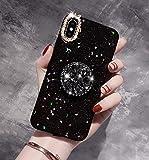 iPhone XRケース用スターズ、セブンパンダダイヤモンド柔らかいゴムバンパー 贅沢キラキラダイヤモンドきらめき結晶グリッターエバッグスタンドホルダー付き女の子用(黒、iPhone XR 6.1インチ用)