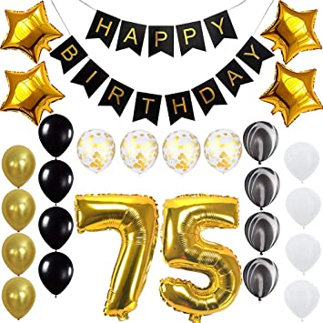 Happy 75th Birthday Banner Balloons Set For 75 Years Old Party Decoration Supplies Gold Black