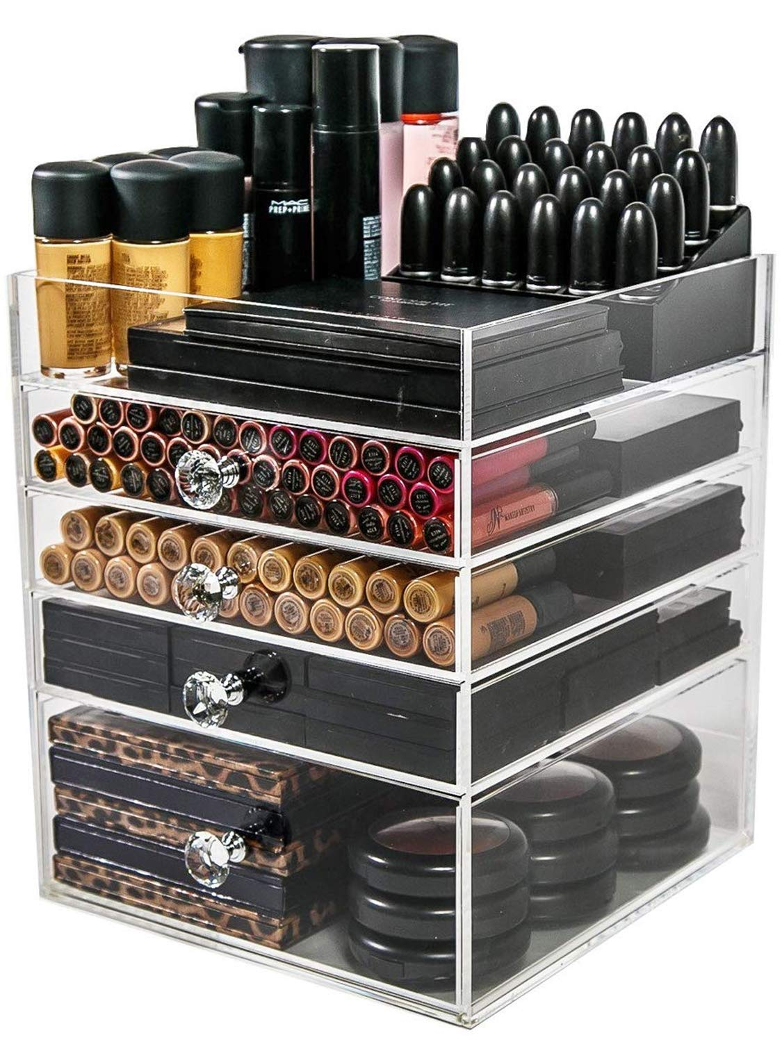 N2 Makeup Co Acrylic Makeup Organizer Cube 4 Drawers Storage Box for Vanity Tables
