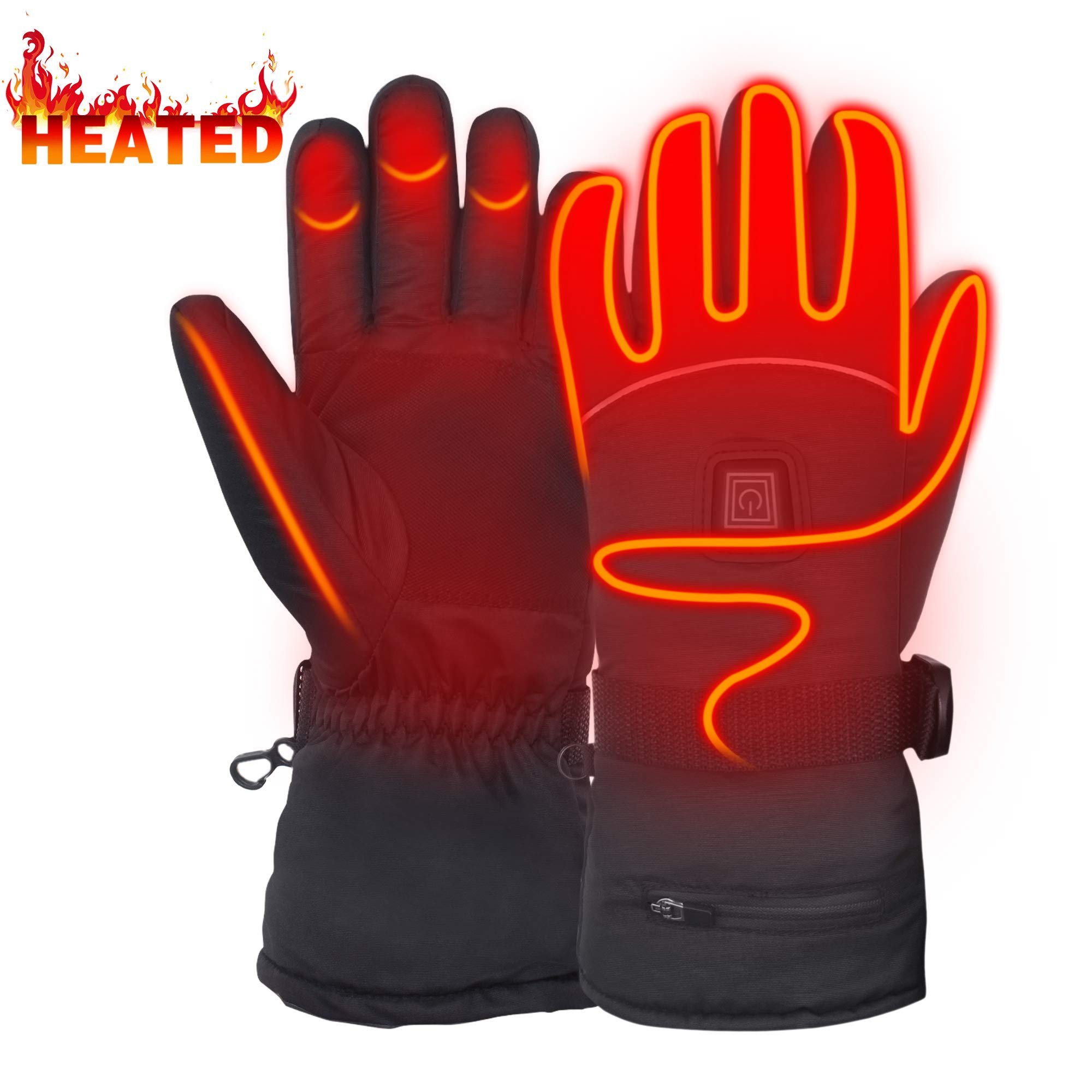 Heated Gloves for Men Woman Hand Warmers Electric Btteries Gloves Motorcycle Gloves with 7.4 V Rechargeable Batteries Heating Gloves for Hunting Shoveling Snowballs Riding L by MMlove