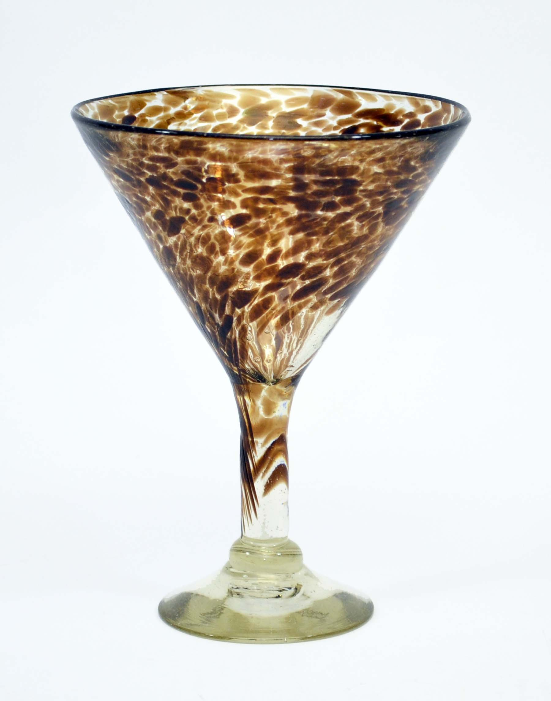Set of 4, Handmade Mexican Chocolate Confetti Martini Shaped Margarita Glasses, Recycled Glass-14 ounces each.